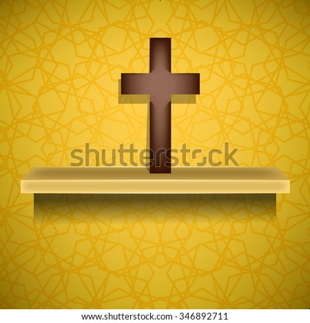 Vector Wood Cross on Yellow Ornamental Brown Background. Symbol of Religion - stock vector