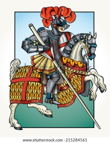 Vector wood cut style drawing of a Knight on horseback/Wood cut knight Color/ Easy to edit nice black and white grouped object vintage true wood cut style. - stock vector