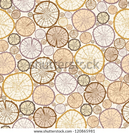 Vector wood log cuts seamless pattern background with hand drawn - stock vector