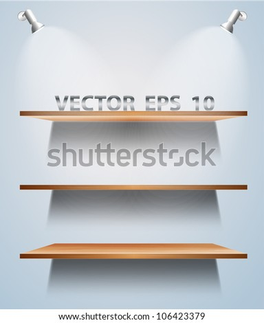 Vector wood shelf on wall - stock vector