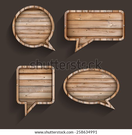 Vector wood sign of speech bubbles template design  - stock vector