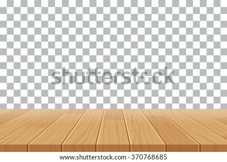 vector wood table top on isolated background - stock vector