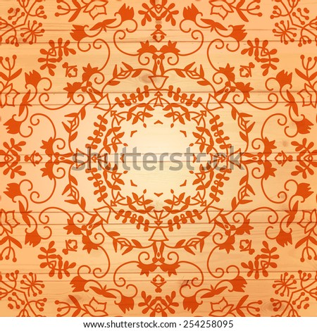 Vector wood texture with lace round ornament. Wooden background. Vector illustration. EPS10.  - stock vector