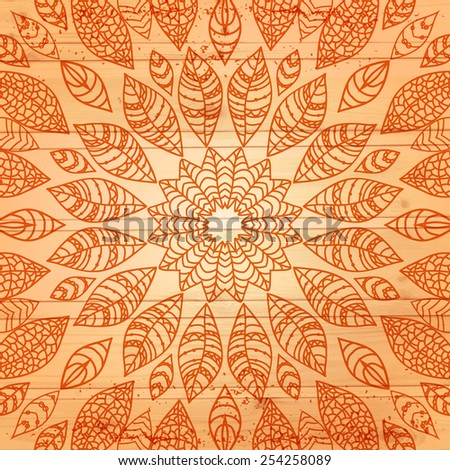 Vector wood texture with leaves. Wooden background. Vector illustration. EPS10. Round. - stock vector