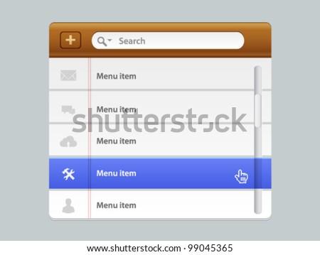 Vector wood web design navigation menu - stock vector