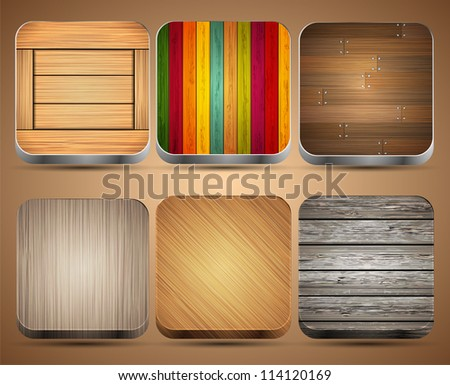 Vector wooden app icon set on brown background. Eps10 - stock vector