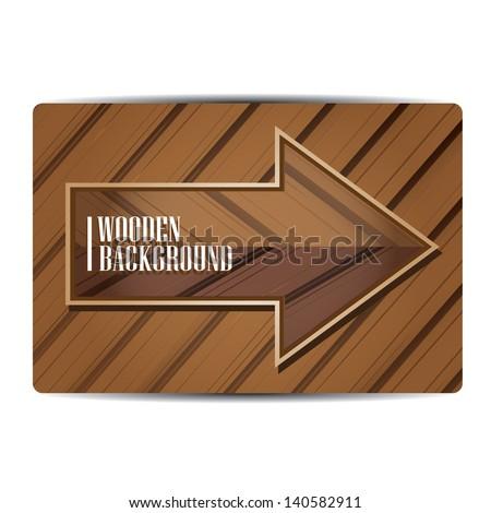 vector wooden background. vector wooden arrow or sign - stock vector