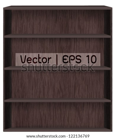 Vector wooden book shelf background for ebook for modern tablet pc - stock vector