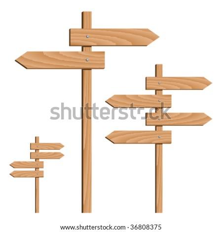 vector wooden direction arrows - stock vector