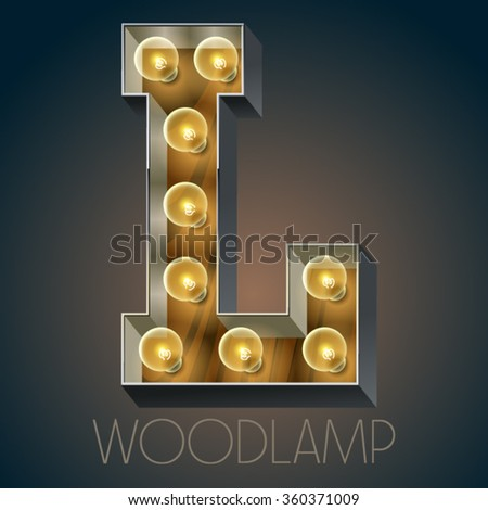 Vector wooden electric light up lamp alphabet in hard font. Letter L - stock vector