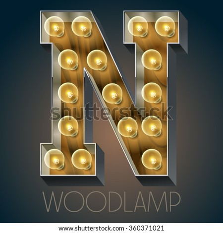 Vector wooden electric light up lamp alphabet in hard font. Letter N
