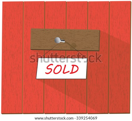 Vector wooden fence and a sign saying Sold, isolated over white background vector illustration - stock vector