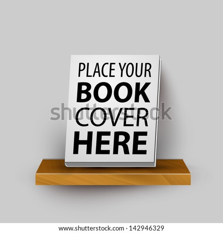 Vector wooden realistic bookshelf template with your product bestseller book - stock vector