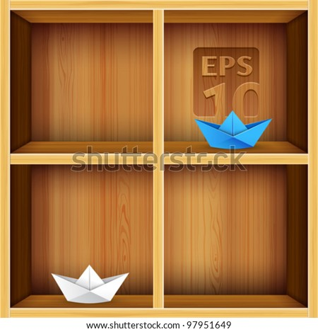 vector wooden shelves background - stock vector