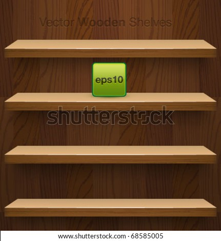 Vector wooden shelves for your design. - stock vector