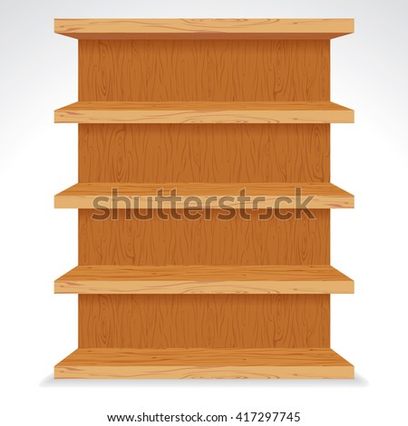 Vector Wooden Shelves. Ready for Your Text and Design. - stock vector