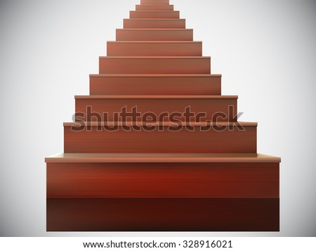 vector wooden stairs illustration - stock vector