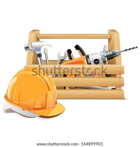 Vector Wooden Toolbox - stock vector