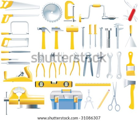 Vector woodworker tools icon set - stock vector