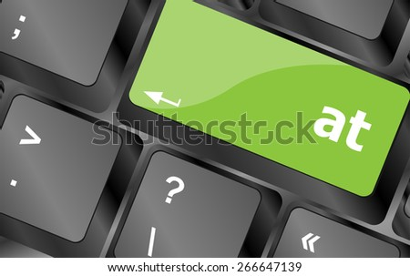 vector word at button on computer keyboard key - stock vector