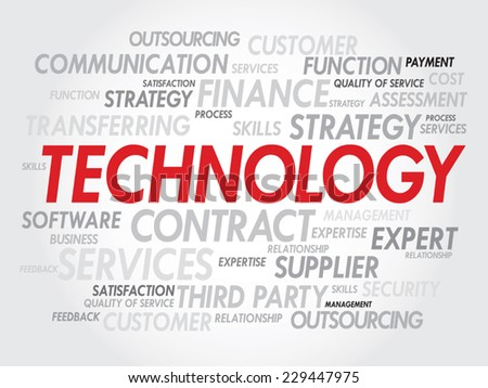Vector word cloud illustration with multiple words on the technology theme - stock vector
