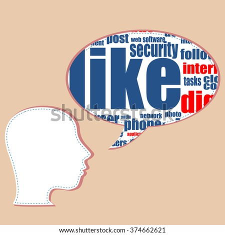 vector Word cloud, tag cloud text business concept. Head silhouette with the words on the topic of social networking. Word collage. - stock vector