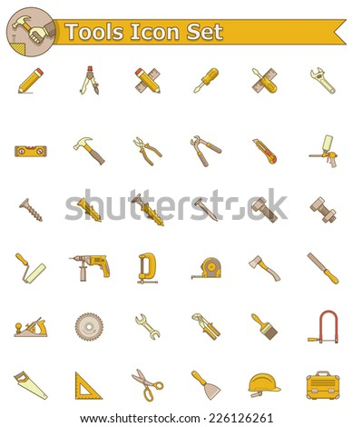 Vector working tools icon set