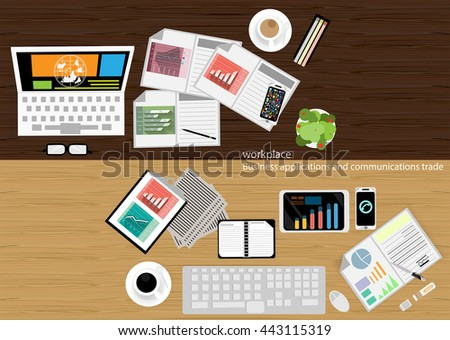 vector workplace Business applications and communications with commercial paper, documents, files, pens, pencils, mobile phones, task, leveraging Notebook, Tablet, glasses, coffee cups, flat design - stock vector