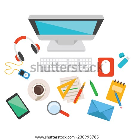 Vector workplace. Creative flat design illustration concept. Modern trendy style graphic design elements. Business office objects, things, elements, items, equipment. Isolated on white background. - stock vector