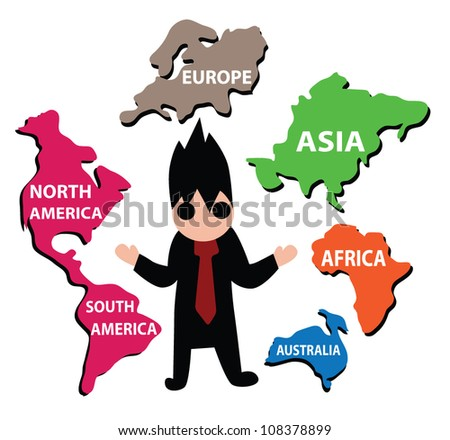 Vector - World business.He control the world of business. - stock vector