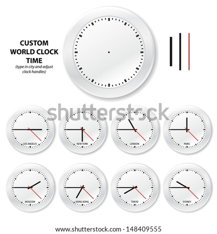 Vector world clocks. Capitals of the world shown in time zones with editable clock handles. / World time clocks - stock vector