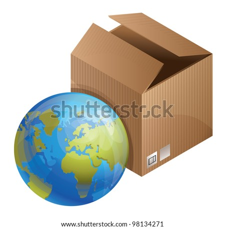 vector world delivery concept - globe and box
