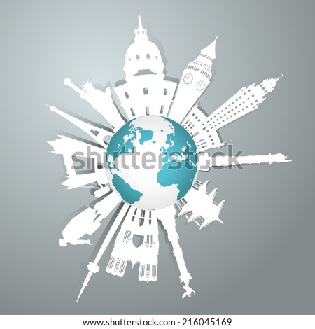 Vector World famous landmark collection - stock vector