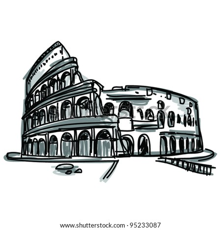 Vector World famous landmark collection : Colosseum in Rome, Italy - stock vector