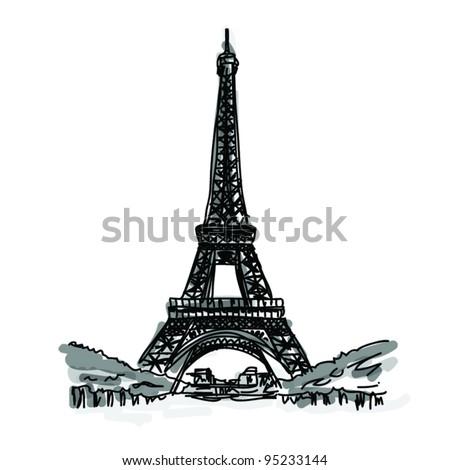 Vector World famous landmark collection : Eiffel Tower, Paris, France - stock vector