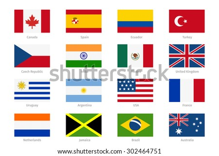 Vector world flags in flat style. Canada and Spain, Ecuador and Turkey, India and Mexico