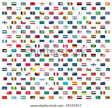 Vector world flags with non-raster drop shadows - stock vector