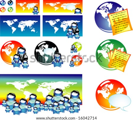Vector World global concept and population icon set.