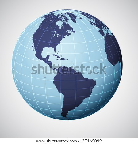 vector world globe in blue focused on america illustration - stock vector