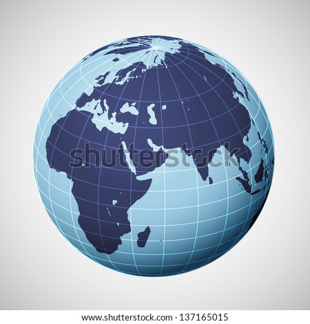 vector world globe in blue focused on europe illustration - stock vector