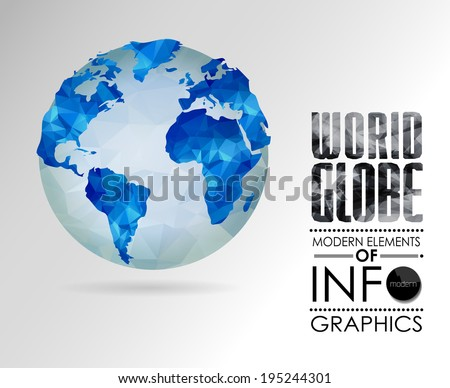 Vector world globe, triangular map of the earth. Modern elements of info graphics. World Map - stock vector