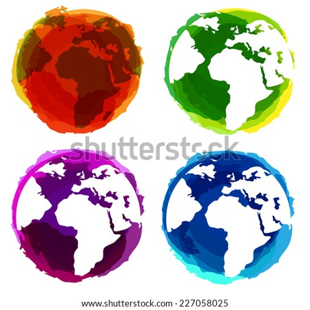 Vector world globe with splash effects