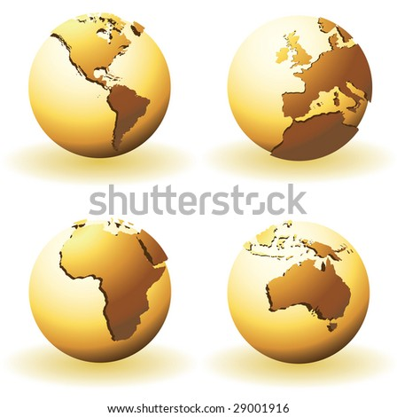 vector world globes with raised relief