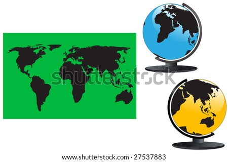 Vector. World map and globes on the white.