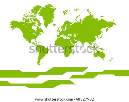 Vector world map background. Isolated on a white