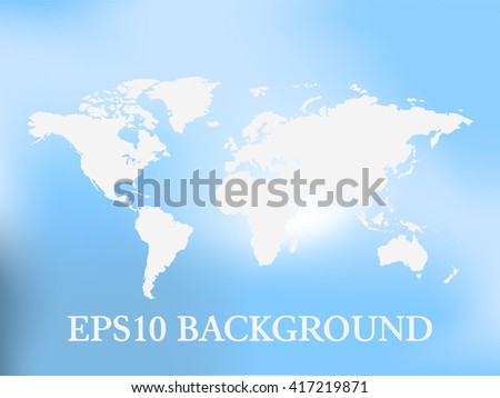 Vector World Map background with blue blur background - stock vector