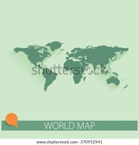 Vector world map background with long shadow and flat design style