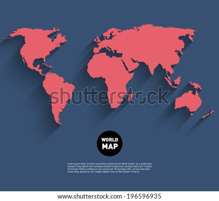 Vector world map background with long shadow and flat design style, clean and modern - stock vector