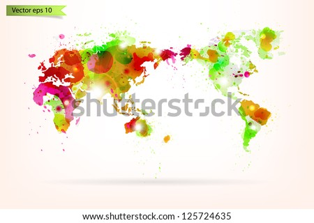 Vector World Map Creative with Splash of Color and Light Effects - stock vector