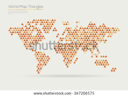 Vector world map design. Triangle pattern continents - stock vector